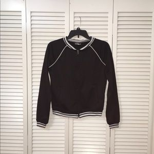 SO Zip Up Black Jacket with White Detail & Pockets